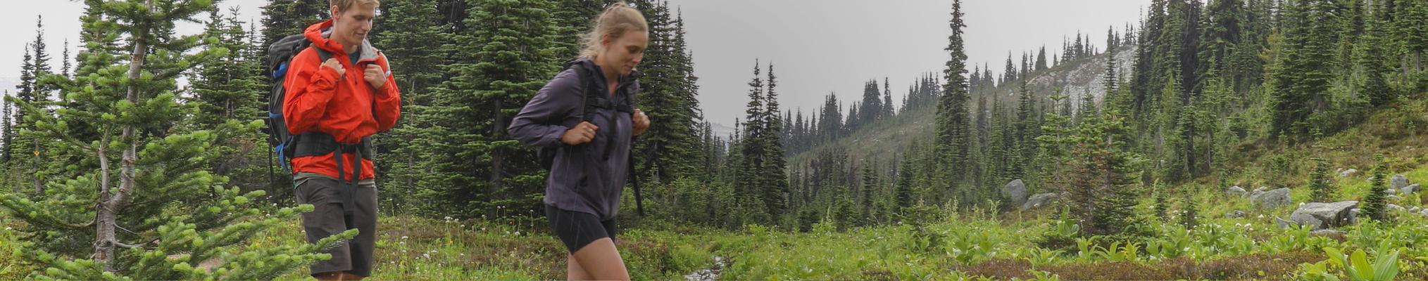 couple hiking through forest: protecting environments, protecting our natural world
